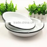 Enamel Dinner Plate Traditional White 22cm Crockery Dining Tableware Household Enamel plates