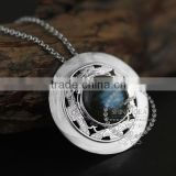 925 sterling silver round labradorite carving flower tray fashion women neceklace 6360482