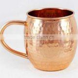 Alchemade Copper Barrel Mug for Moscow Mules - 16 oz - 100% Pure Hammered Copper - Heavy Gauge - No lining - includes FREE glass