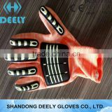 TPR vibration HPPE PU palm coating gloves/safety protective cut resistant gloves 5 level cut resistant gloves