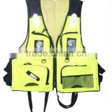 2016 Latest design workable price fluorescence wholesale fishing life vest with multi pockets