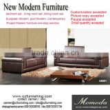 JR8051 Voage Modern Luxury Italy retro brown Genuine full leather italian style living room 1+2+3 sectional sofa set