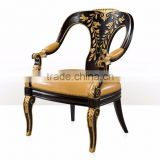 Exquisite Elegant English Style Replica Black and Gold Carving Chair with Leather Seat Cushion BF12-04074b