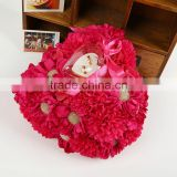 Ellie's Bridal red Heart shape silk flowers wedding ring pillow with brooch/Wedding ring box for wedding gift