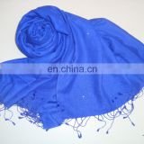 Plain/solid Pashmina scarves with Crystals