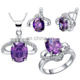 Round Shape Violet Jewerly sets with earings necklace and ring