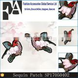 Fashion 12x8cm Wide 3D Beads Sequins Embroidery Birds for Clothing