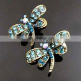 2013 newest fashion alloy dragonfly rhinestone hair clip