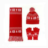 Joy Fashion Factory Acrylic Jacquard Hat Scarf Glove Knitted Knitting Set