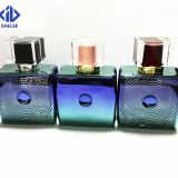 China manufacturer supply plating colorful glass perfume bottle with cap