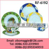 Zibo Made Not Expensive Christmas Designed Porcelain Round Dinnerware Sets for Children's Gift
