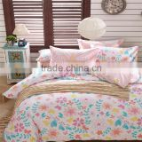 Colorful flower printed cotton children bed sheet set eco-friendly bedding set pink and white kids duvet cover set