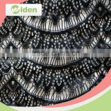 Fancy black 100% nylon material net lace cord lace fabric with rhinestones                                                                                                         Supplier's Choice