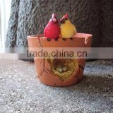 Two Cardinal Birds on a Planter with Nest Miniature Fairy Garden Village Decoration Accessories Patio Dollhouse