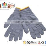 FTSAFETY hot sale in Japan grey cotton yarn knitting safety work gloves plain knit 50g per pair