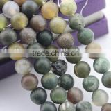 2.0mm Large Hole Hot Selling Round Matte India Agate Gemstone Loose Beads Approximate 15.5 Inch