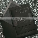 black gloss foil stamping black card modern wedding invitations                                                                         Quality Choice