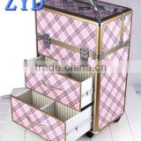 Aluminum rolling beauty train box with drawers aluminum trolley makeup artist case ZYD