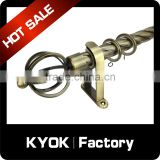 KYOK Wonderful design 12 years manufactures curtain parts,bending hinged curtain rod,length 3m curtain pole                                                                                                         Supplier's Choice