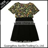 New latest fashion designs Chinese clothes supplier black short sleeve false two piece autumn women black dress
