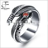 Vintage Mens Womens Stainless Steel Feather Ring Cubic Zirconia Black Silver