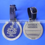 brass golf club 10 year member gifts metal leather golf bag tag