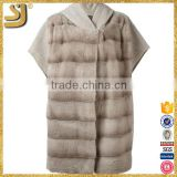 Vogue black modern fashion hooded women winter mink short sleeve fur coats