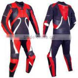 Leather MotorBike Racing Suit Black ,Red and White Contrast Colour