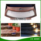 Infrared Creative Cambered 8LED High Power Motion Sensor Solar Wall Light Smile Garden Wall Lamp Solar Stair Safety Lights