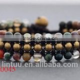 Fancy Jasper Beaded Band Bracelet bangles Handmade woven wax cord bracelet thai style brass bell closure bracelet for women