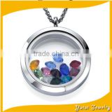 Hot selling Custom choose mothers birthstone crystal personal floating charms pendants necklace (DIY-014)