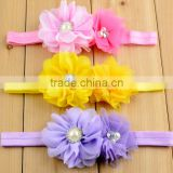 shabby chiffon trim DIY headbands , chiffon flower with elastic for kids hair accessories