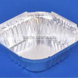 Shallow Square single serve food tray 300ml /disposable aluminium foil container for food