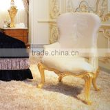 High Back Baroque Living Room & Bedroom Queen Throne King chair/ Victorian Style Elegant White Fabric Armchair With Golden Frame