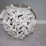 wholesale Handmade round white wicker candle holder for sale