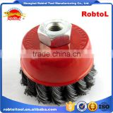 "3"" steel wire cup brush wheel twist knot crimped bowl disc abrasive M10 round grinding cheaning brush"