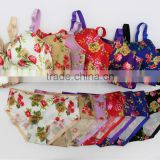 Printed roses brushed one peice seamless underwear gather comfortable adjustable bra set
