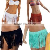 Sexy Beach Elastic Waist Mini Skirt Summer Tassel Swimwear Beach Skirt Pareo Beach Bikini Cover Up Crochet Bathing Suit Cover Up