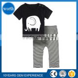 (Cool Clothing Suit) Summer Baby Clothes Cotton Cute White Elephant Classic Black Top Tee and Stripped Pants For Infants