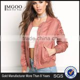 MGOO Custom Designs Branded Jackets For Women Pink 100% Polyester Tops Zip Up Fly Padded Tops Coat