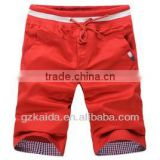 High Density 100% Cotton Twill Fabric Men's Casual 3/4 Short Pants with Embroidery Contrast Color