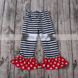 One Piece Girls black with white stripes ruffle pants new design tomas brand children wear