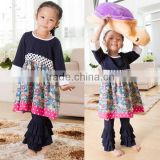 2014 new arrival baby cotton clothes girl clothes suit zebra print with ruffle in the bottom