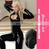 Erotic Black Wetlook Overall Catsuit Women Teddy Zipper Crotch Wholesale