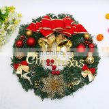 A039 Christmas Wreaths Berries Red Fruit Bow Knots Ornaments Window Arrangement Door Hanging Green Garland Christmas Gifts