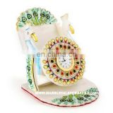 Marble Decorative Mobile Stand with Clock Watch