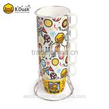 Popular B.Duck design artistic ceramic coffee cup tea cup party cup (5 sets)