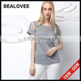 2015 fashion sexy embroidery hollow out solid summer backless women 3d t-shirt printing machine