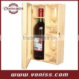 Wooden Single Bottle Wine Box Case Carrier,Wood Holder, Natural Wooden Color, Holds 1 Bottle 750ML and 2 Glass