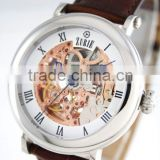 ZUSK-01W Automatic Stainless steel mechanical seagull Skeleton movement mechanicl leather watch band